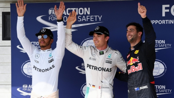 (L to R): Lewis Hamilton (GBR) Mercedes AMG F1, pole sitter Nico Rosberg (GER) Mercedes AMG F1 and Daniel Ricciardo (AUS) Red Bull Racing celebrate in parc ferme at Formula One World Championship, Rd11, Hungarian Grand Prix, Qualifying, Hungaroring, Hungary