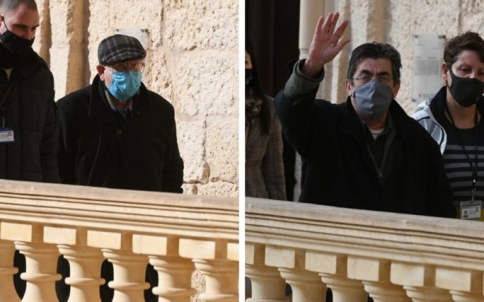 Fr Joseph Sultana (left) and Fr Joseph Cini (right) exiting the courthouse in Gozo after their request for bail was denied. They are facing sexual abuse charges (Photos: James Bianchi/MaltaToday)