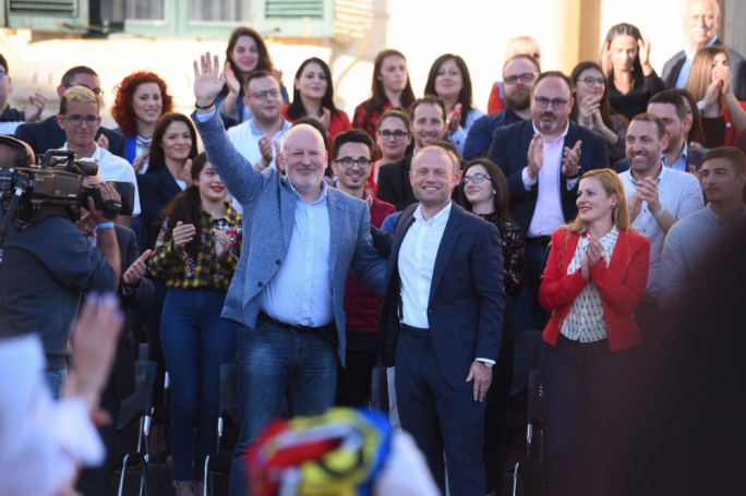 Joseph Muscat with the lead candidate for the Socialists and Democrats Frans Timmermans. (Photo: James Bianchi/MediaToday)