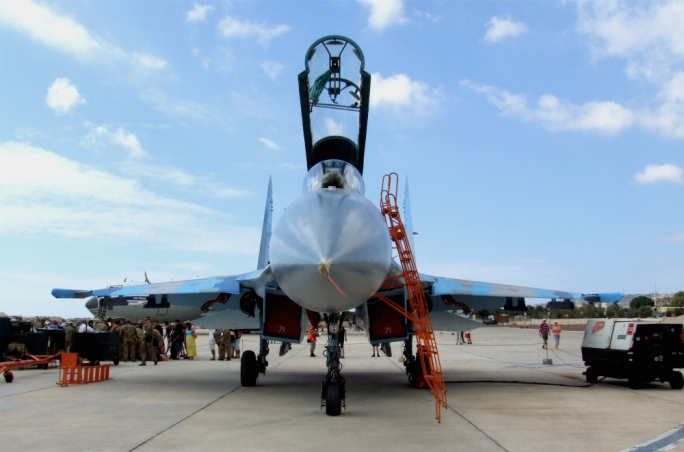 Front view of the SU-27 Flanker of the Ukraine Air Force