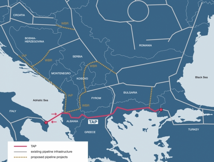 The proposed gas pipeline route from Azerbaijan