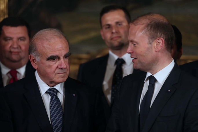 President George Vella (left) with Joseph Muscat. Photo: DOI