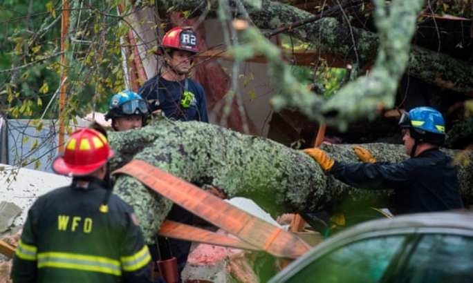 Firefighters work to remove a tree that fell on a house in Wilmington which killed a mother and her child