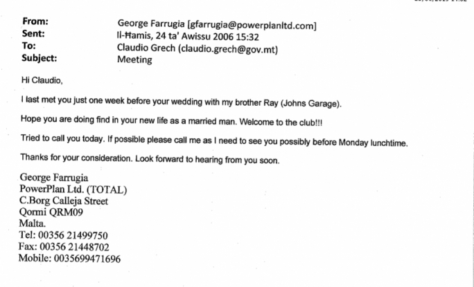 An email sent to Claudio Grech by George Farrugia in August, 2006