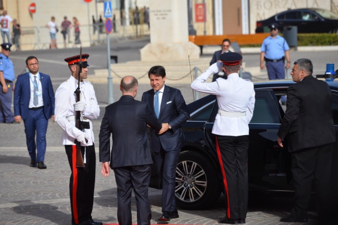 Italian PM Giuseppe Conte being greeted by Joseph Muscat in Malta