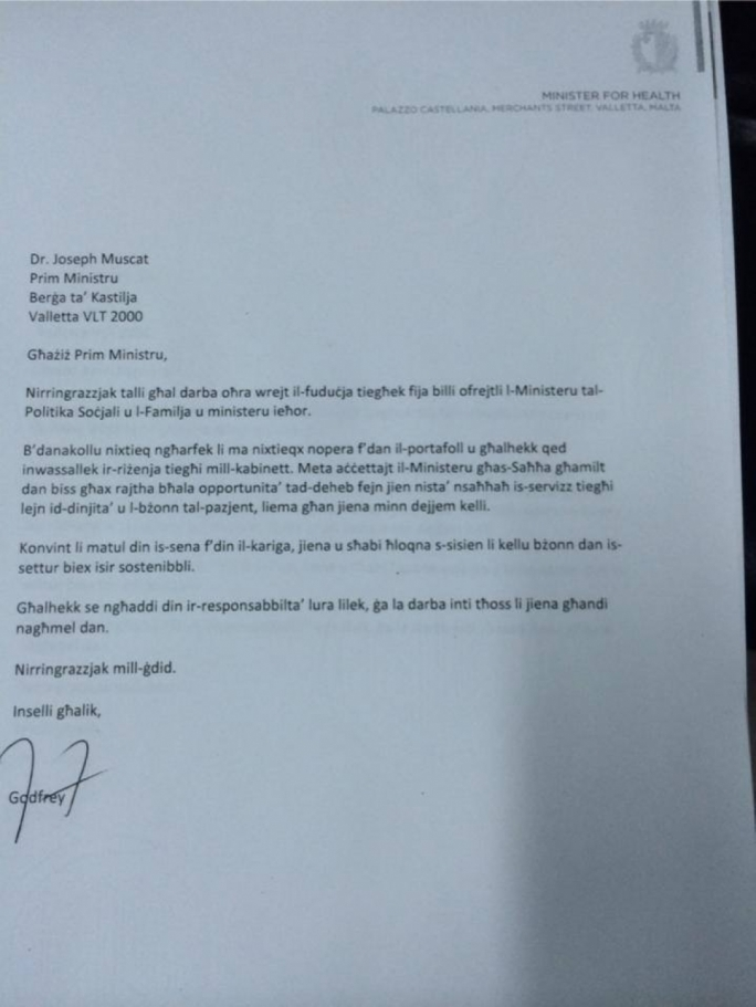 Godfrey Farrugia resignation letter Updated Cabinet