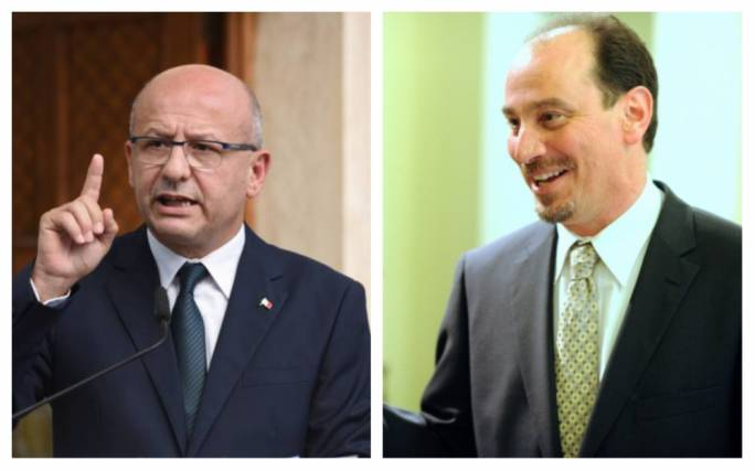 Nationalist Party MP Edwin Vassallo (left), and Democratic Party MP Godfrey Farrugia (right)
