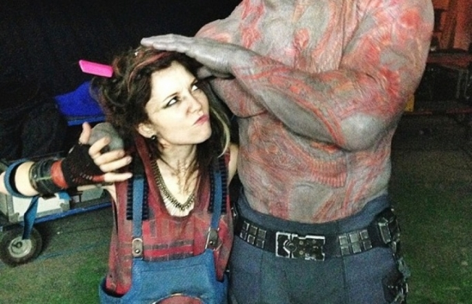 Maltese actress Marama Corlett alongside Dave Bautista in a behind-the-scenes shot from Guardians of the Galaxy