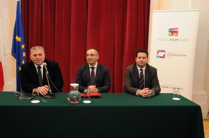 Left to right: Gozo Minister Anton Refalo, Film Commissioner Engelbert Grech and Tourism Minister Edward Zammit Lewis