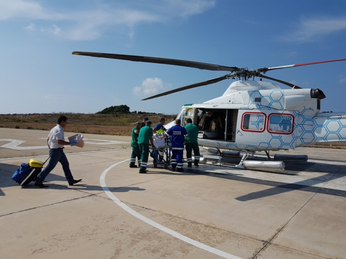 The helicopter operated by Steward Healthcare at the Gozo general hospital: this photo was posted on Facebook by the hospital's CEO Joseph Fenech