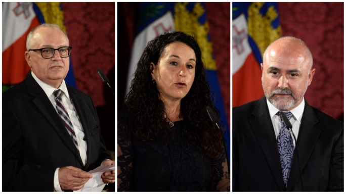 New judges: Grazio Mercieca (left), Consuelo Scerri Herrera (centre) and Anthony Vella (right)