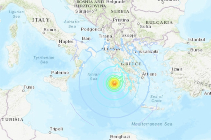 The earthquake happened in the Ionian Sea