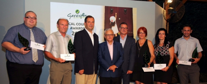 Winners of the third edition of the GreenPak Local Council Awards 2015. (from left) San Ġwann Executive Secretary Kurt Guillaumier, Luqa Mayor John Schembri, Parliamentary Secretary for Culture and Local Government Dr Stefan Buontempo, Minister for Sustainable Development, the Environment and Climate Change Leo Brincat, GreenPak Coop Society CEO Ing Mario Schembri, Kalkara Mayor Speranza Chircop, Attard Executive Secretary Marica Mifsud and Għaxaq Mayor Darren Abela