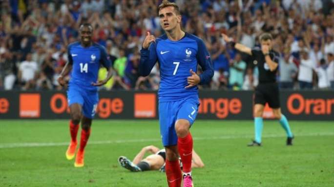 Antoine Griezmann celebrating after scoring the second goal during France UEFA EURO 2016 semi final match against Germany