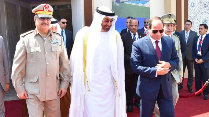 General Khalifa Haftar (left) with his backers: UAE Crown Prince Sheikh Mohamed Bin Zayed Al Nahyan, and Egypt President Abdel Fattah el-Sisi