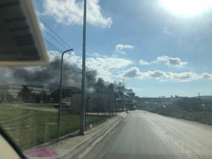 A fire in Hal Farrug has caused thick black clouds