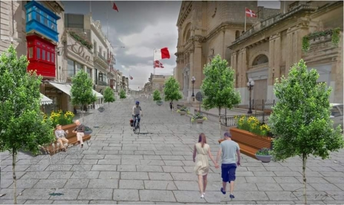 An artist's impression of how Hamrun's main road will look (Photo: Facebook/Steve Compagno)