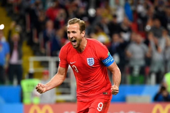 Harry Kane celebrates a goal for England