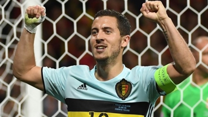 Eden Hazard of Belgium celebrating after scoring their third goal during their UEFA EURO 2016 round of 16 match against Hungary