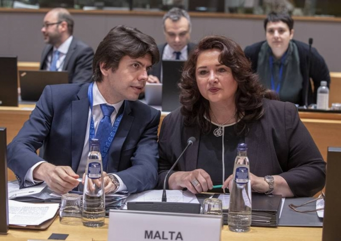 """The Germans are undecided about whether to serve you with sauerkraut…"": Helena Dalli, right, in conversation with permanent representative Daniel Azzopardi"