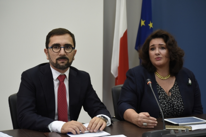 Policy chief Silvan Agius (left) and equality minister Helena Dalli (right) piloted the marriage law amendments