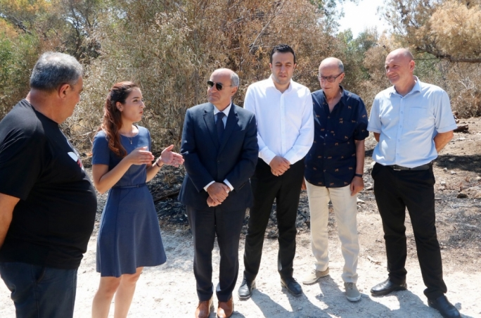 Former environment minister José Herrera at Mizieb (third from left), with now Gozo minister Clint Camilleri next to him, who has been granted responsibility for the Wild Birds Regulation Unit and is himself a hunter, and next to him, the CEO of the hunting lobby, Lino Farrugia