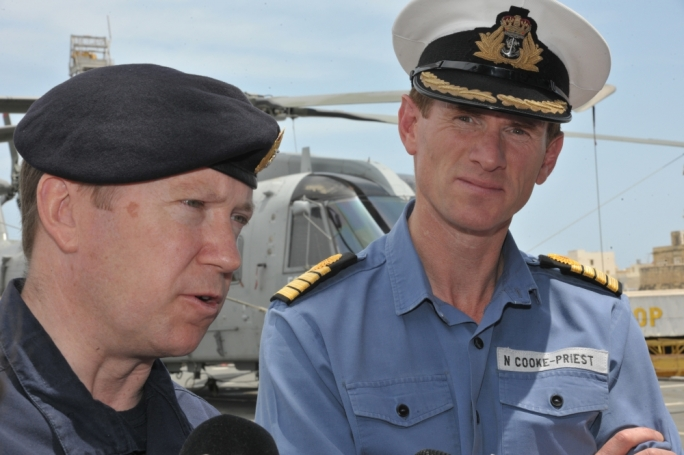 Commodore Martin Connell and Captain Nick Cooke-Priest answering questions for the media on-board the HMS Bulwark