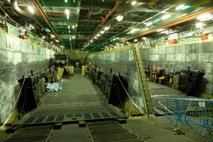 The ship's loading platform dock allow it to carry out varied operations