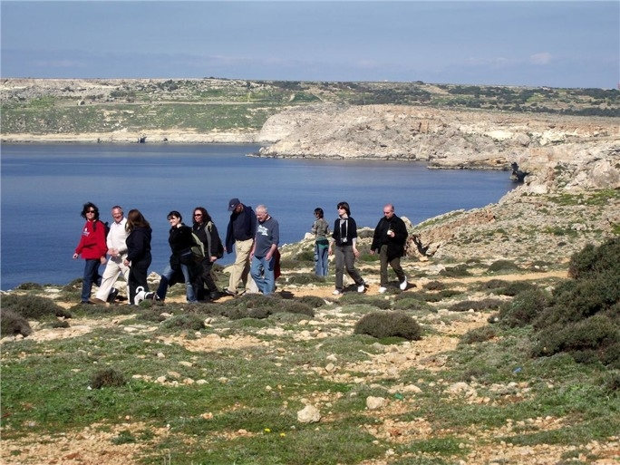 Visitors to the Majjistral Park enjoying a ramble across the vast garigue