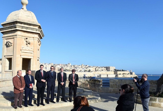 Parliamentary secretary Ian Borg (third from left) announcing the restoration project by the Senglea Gardjola