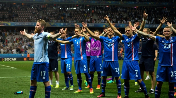 Iceland celebrating their 2-1 victory over England