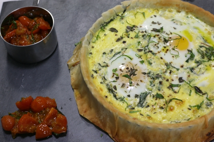 Feta and poached egg tart