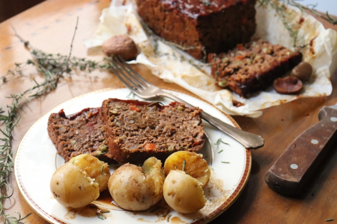 Lentil and chestnut roast