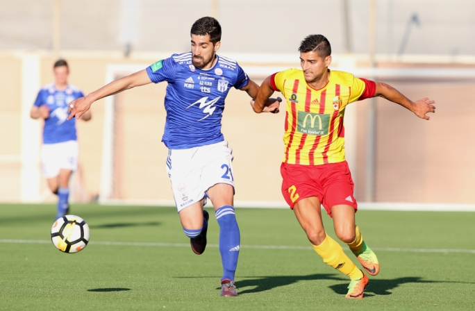 Edward Herrera of Birkirkara and Boris Dosljak challenging each other for the ball. Photo: Christine Borg