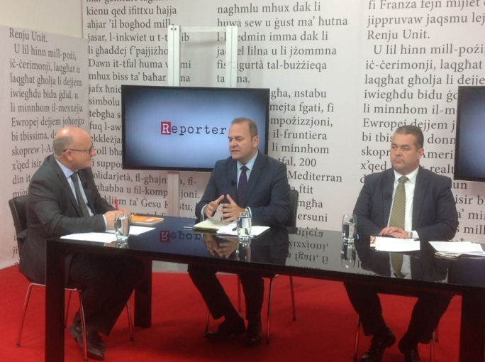 Economy minister Chris Cardona and PN deputy leader Beppe Fenech Adami with Saviour Balzan on Reporter