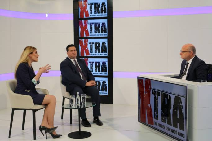 PN General Council President Kristy Debono and Labour MP Edward Zammit Lewis on Xtra