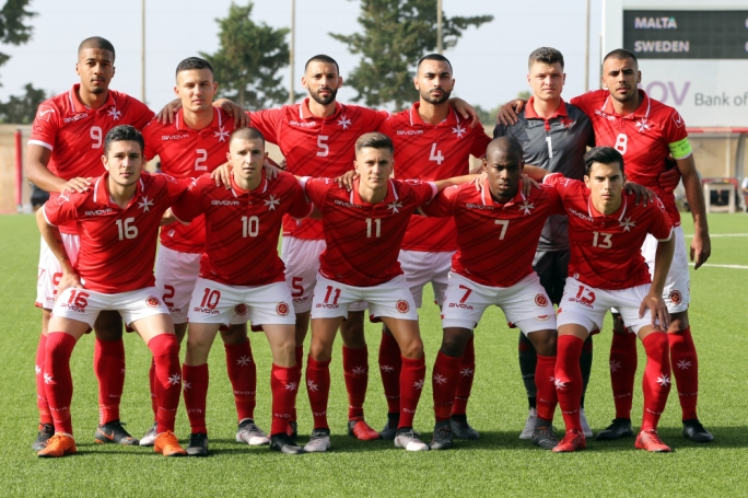 Malta's starting eleven. Photo: Dominic Borg