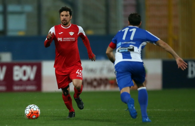 Alan Da Silva Souza of Balzan in action. Photo: Dominic Borg