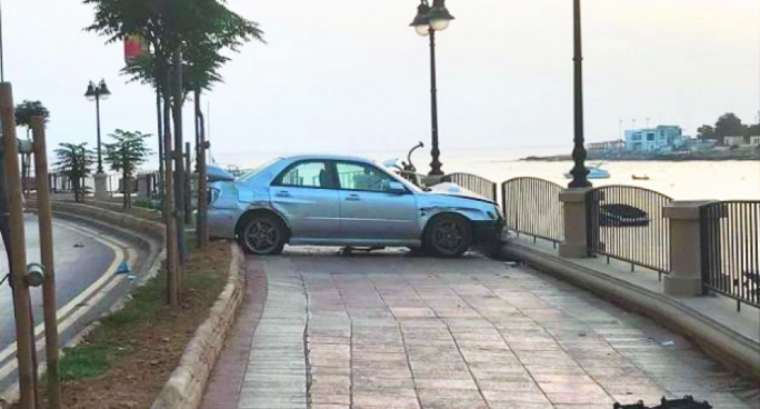 Eight people have been hospitalised after a man lost control of his car and mounted a pavement on the St Julian's promenade