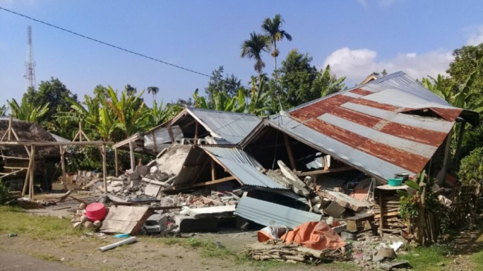 Many houses were destroyed in the earthquake on Lombok