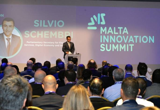 Parliamentary Secretary Silvio Schembri addressing the Malta Innovation Summit
