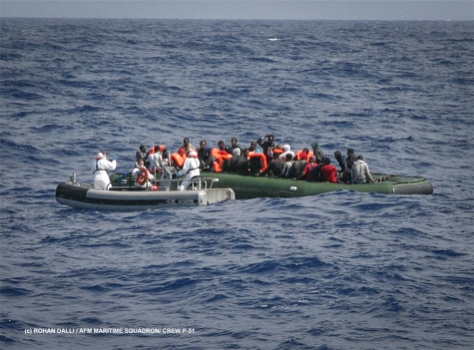 File photo of Italian navy effecting migrant rescue at sea