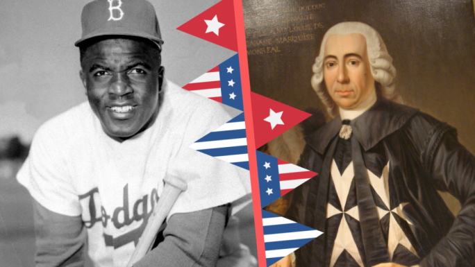 Jackie Robinson (left) broke baseball's colour barrier and integrated professional baseball in 1947. Grandmaster de Rohan (right) asissted the new American state with access to Maltese ports in 1783