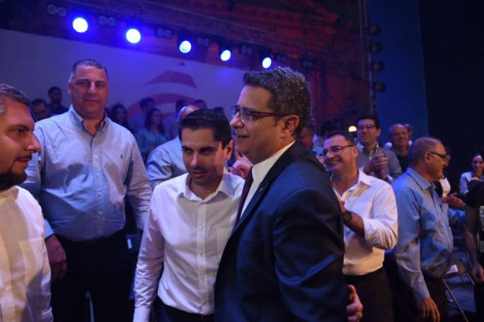 Jean Pierre Debono (left) with PN leader Adrian Delia