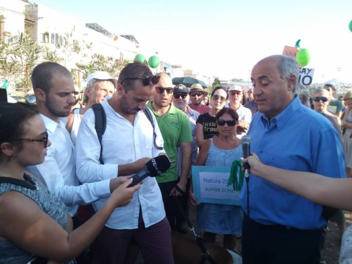 Minister Jose Herrera attended the protest against the proposed Chiswick school in Pembroke