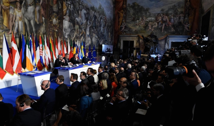 The EU leaders gathered in the same room where the Treaties of Rome were signed 60 years ago