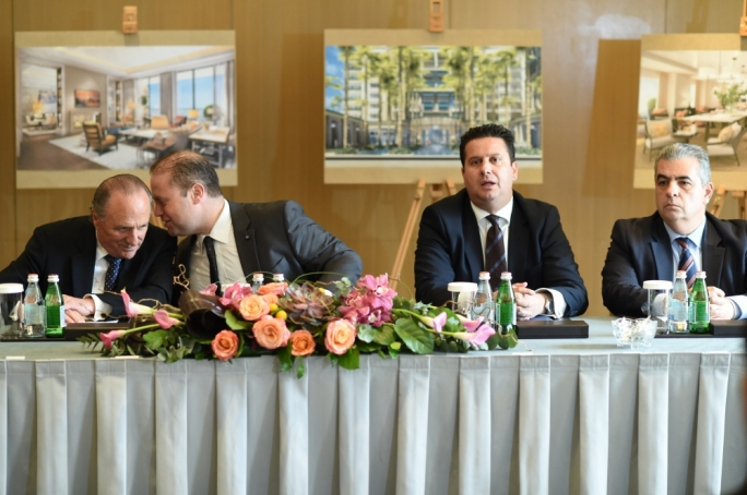 2015: Corinthia chairman Alfred Pisani presents his group's six-star hotel luxury development with Prime Minister Joseph Muscat and former tourism minister Edward Zammit Lewis