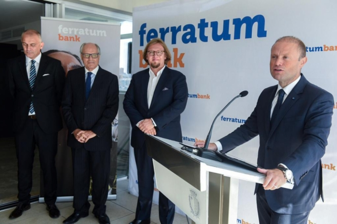 Joseph Muscat visited the new offices of Ferratum Bank: looking on are (from left to right) MFSA CEO Joseph Cuschieri, Finance Minister Edward Scicluna and Ferratum Bank founder Jorma Jokela