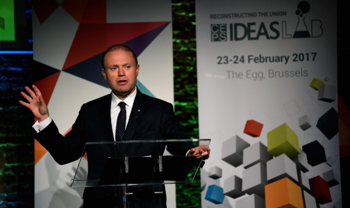 Prime Minister Joseph Muscat was invited to address a forum on reconstructing the union (Photo: Clifton Fenech/DOI)