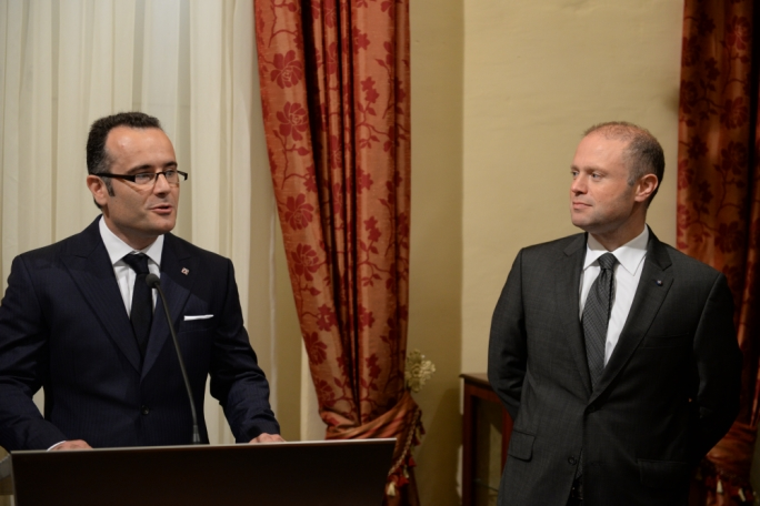 Jean-Philippe Chetcuti (left) at the inauguration of his firm's offices with Prime Minister Joseph Muscat